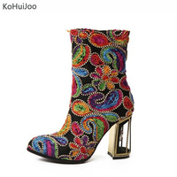 KoHuiJoo 33 43 Falls New Women High Heels Boots Big Size Sexy Flowers Embroidery Vintage Shoes