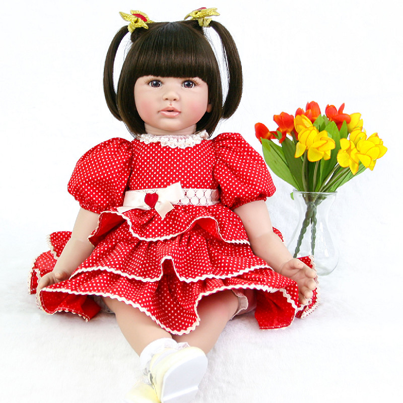 60cm Reborn silicone Baby Doll Toy Realistic Newborn Princess red dress cute vivid  Brinquedos Christmas presents doll for sale60cm Reborn silicone Baby Doll Toy Realistic Newborn Princess red dress cute vivid  Brinquedos Christmas presents doll for sale