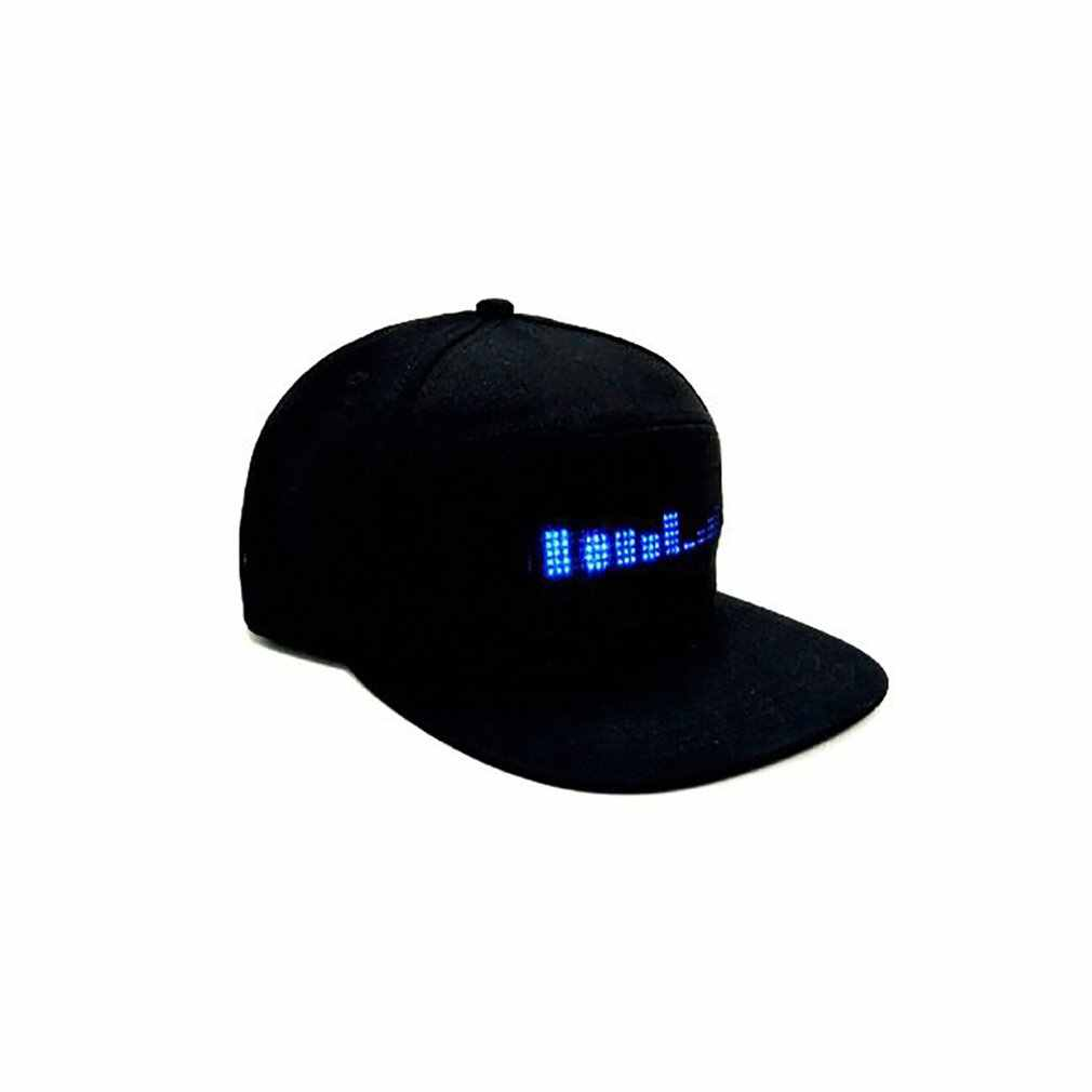 LED Display Fashion Hat Lighted Glow Club Party Sports Athletic Travel Flashlight Baseball Golf Hip-hop Flash Cap Programmable