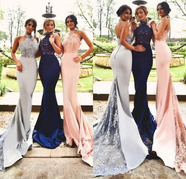 2017 New Design High Neck Mermaid Lace Bridesmaid Dresses Custom Made Satin Long Formal Special Occasion