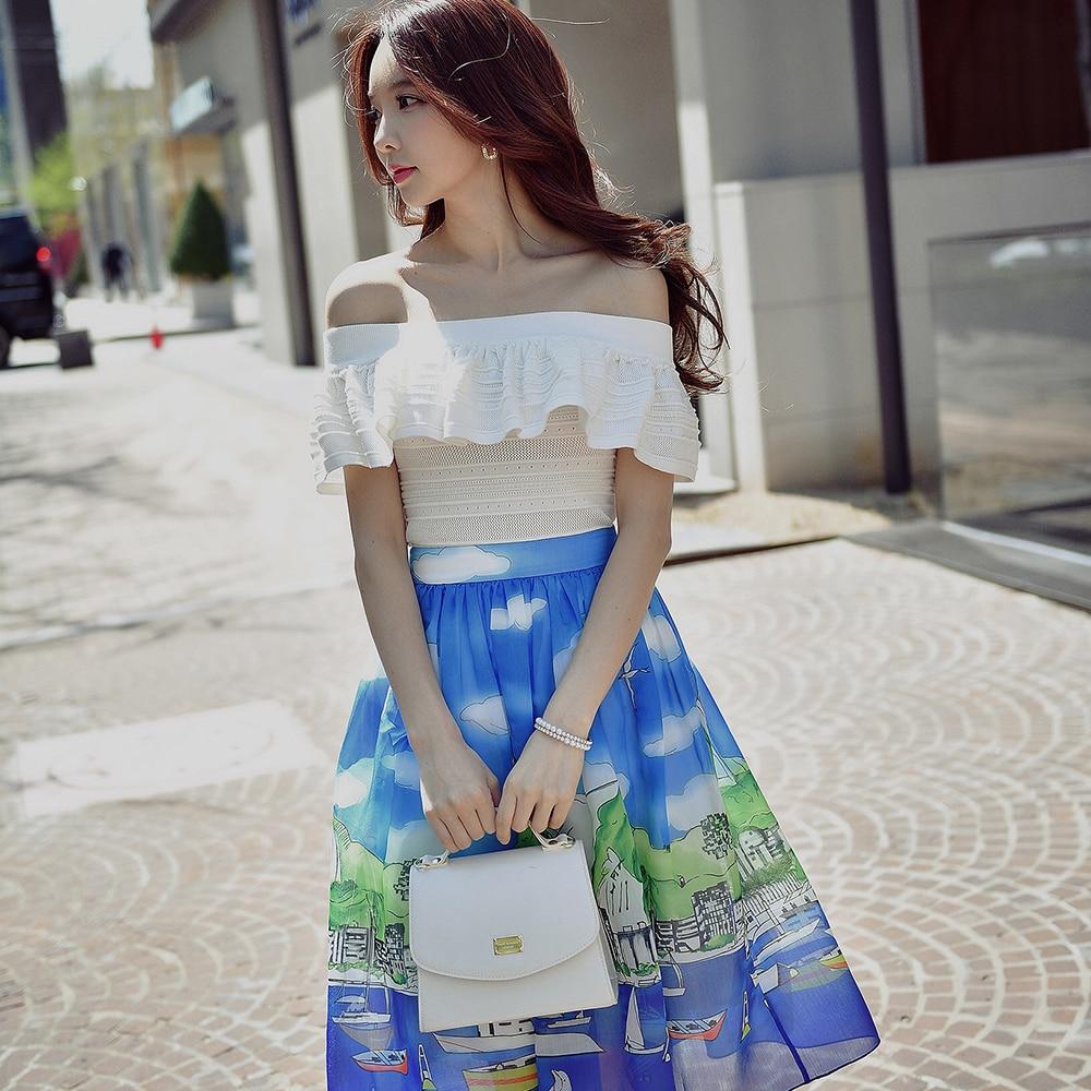 Dabuwawa 2018 Two colors Tighten Off Shoulder Crop Bardot Off The Shoulder Blouse Summer Women Casual Shirt Top knitting blouse
