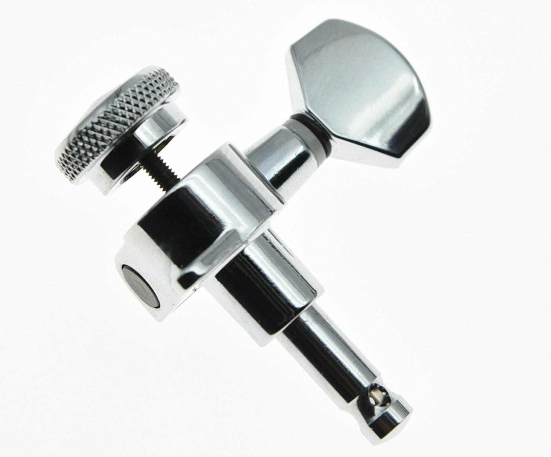 KAISH 6 clés de réglage de verrouillage en ligne accordeurs de guitare chevilles têtes de Machine Chrome - 2