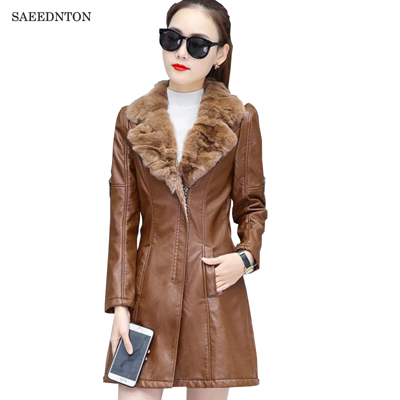 Leather   Coat Women 2019 Winter Female Fashion Black Wine Shearling Coat Fur Collar Thicken Warm Faux PU   Leather   Jacket Outerwear