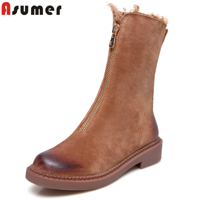 ASUMER 2018 fashion hot sale new autumn winter boots round toe zip ankle boots for women prom suede leather boots ladies shoes hxrzyz women chelsea boots spring autumn ankle boots woman hot new fashion of genuine leather round toe suede women winter shoes