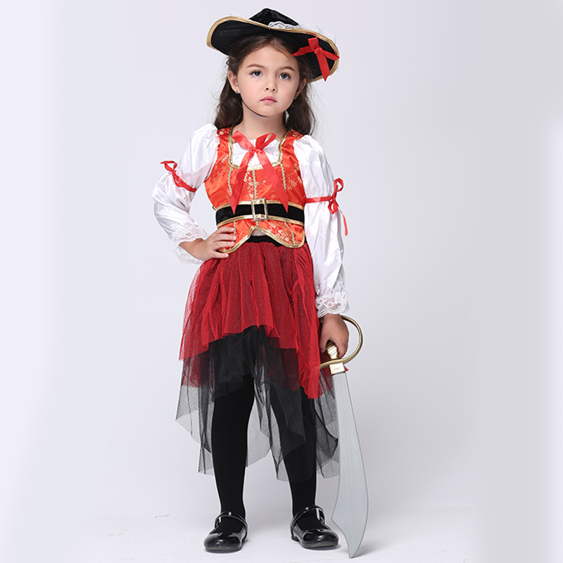 European Halloween Costumes for Girls Children Performance Clothing Dance Clothes Cosplay Roupas Infantis Menina Pirate Uniform luminous costumes glowing gloves shoes light clothing men dance clothes for holiday lighting decor