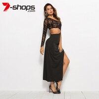 67944ef8c8d26 7 Shops Summer Women Maxi Dress Sexy Black Dress One Shoulder Lace Long  Dresses High Split
