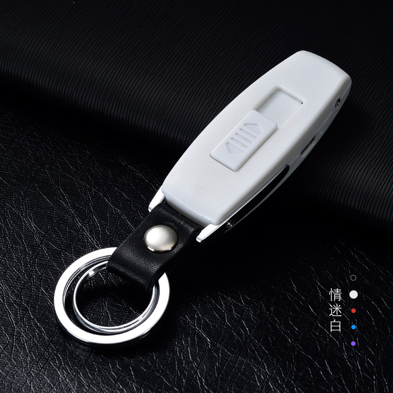 Image 5 - 2017 New USB Lighter Rechargeable Electronic Lighter Keychain Cigarette Turbo Lighter Leather Key Chain Flameless Cigar Palsma-in Matches from Home & Garden