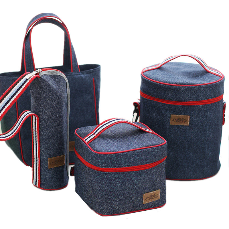 Denim Functional Lunch Bags Kid's School Pouch Leisure Home Picnic Food Thermal Cooler Insulated Accessories Supplies Products 20l extra large camouflage cooler bags thermal insulated picnic bag box travel picnic food storage accessories supplies products