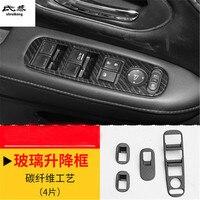 4pcs/lot ABS Carbon fiber grain car window lift panel decoration cover for 2015 2018 HONDA HR V HRV car accessories