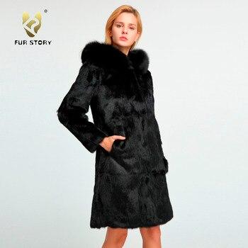 Fur Story Natural Rabbit Fur Coat with Fox Hood Winter Warm Big Hoodie Real Fur Jacket Female Outwear 151254 2018 rex rabbit fur coat girl fur coat wine red natural rabbit fur jacket girl jacket children s wear casual warm clothing