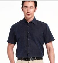 Spring/summer outfit blockbuster mulberry silk plain gambiered watered gauze high-grade shirts with short sleeves