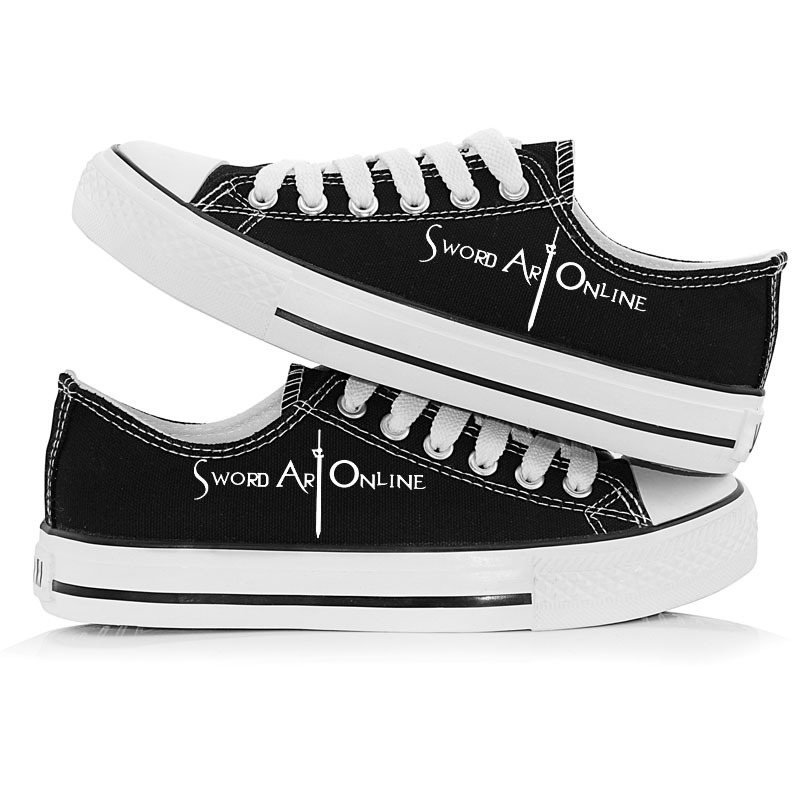 Anime Unisex Sword Art Online Canvas Shoes Halloween Costumes Hand Painted Low-Top Flat shoes SAO cosplay Sneakers A50913