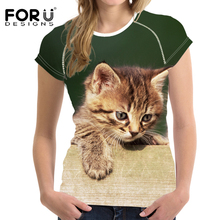 FORUDESIGNS Animal t shirt Cat Women Summer t-shirt Short Casual Kawaii T Feminism Shirt Tops Feminine Clothes Silky