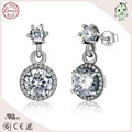 Popular Korean Style 925 Sterling Silver Zircon Stone Earring