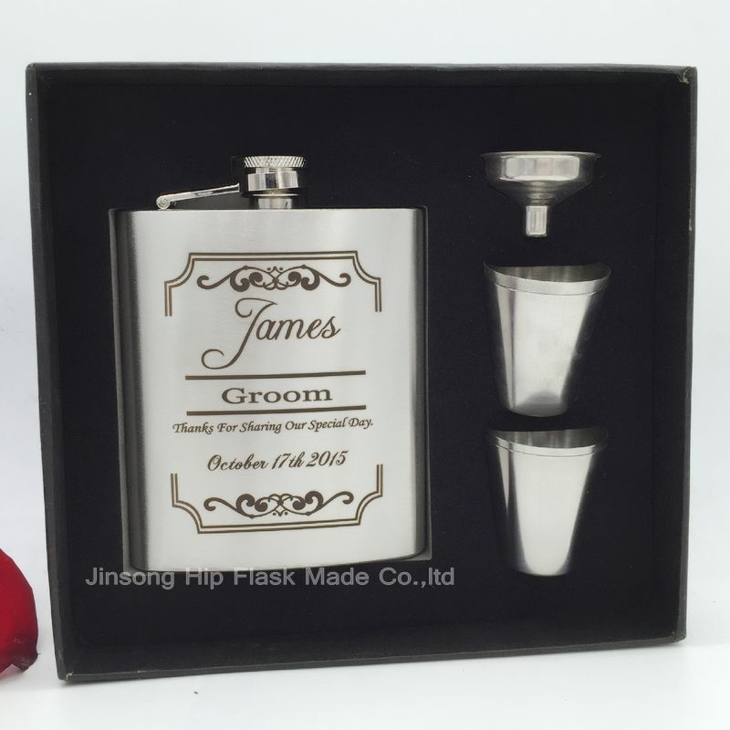 Groomsman gift of  stainless steel hip flask 7oz  with  free  funnel + 4 shot glass in black gift box