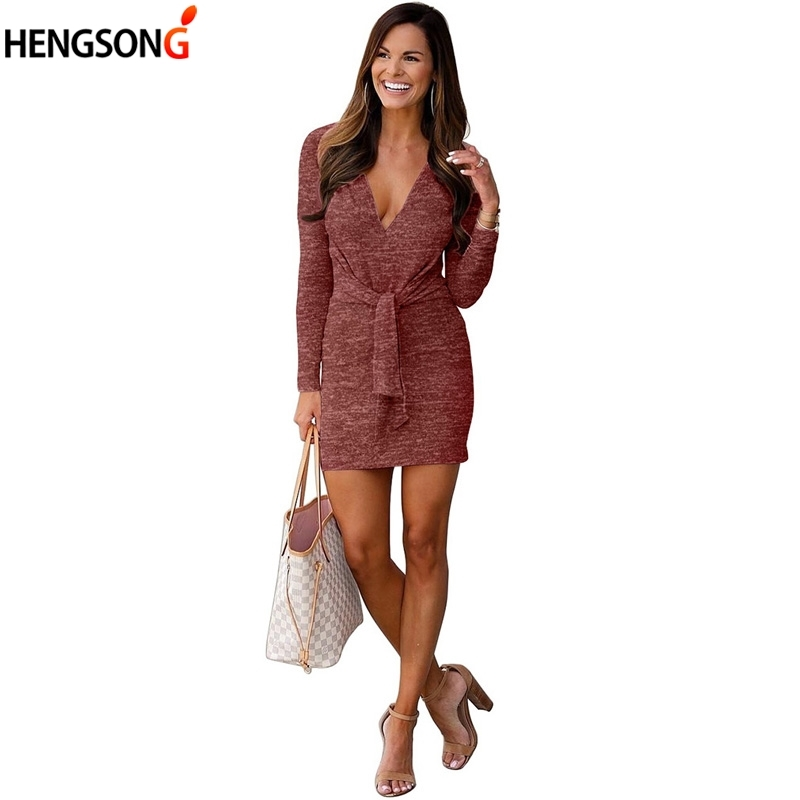Vintage Casual Mini Dress Vestidos Autumn Long Sleeve Lace Up Bodycon Dress Sexy Deep V Neck Elegant Party Dress For Women