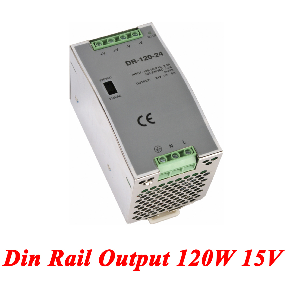 DR-120 Din Rail Power Supply 120W 15V 8A,Switching Power Supply AC 110v/220v Transformer To DC 15v,ac dc converter ac dc dr 60 5v 60w 5vdc switching power supply din rail for led light free shipping