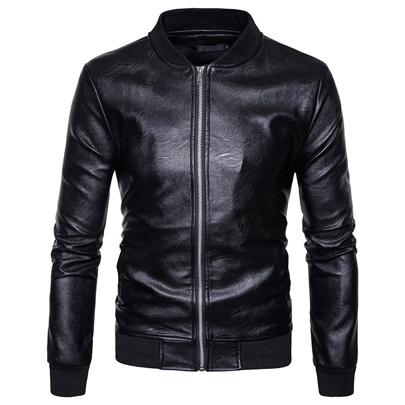 High quality creative autumn winter clothing mens soft knit collar leather mens jacket l ...