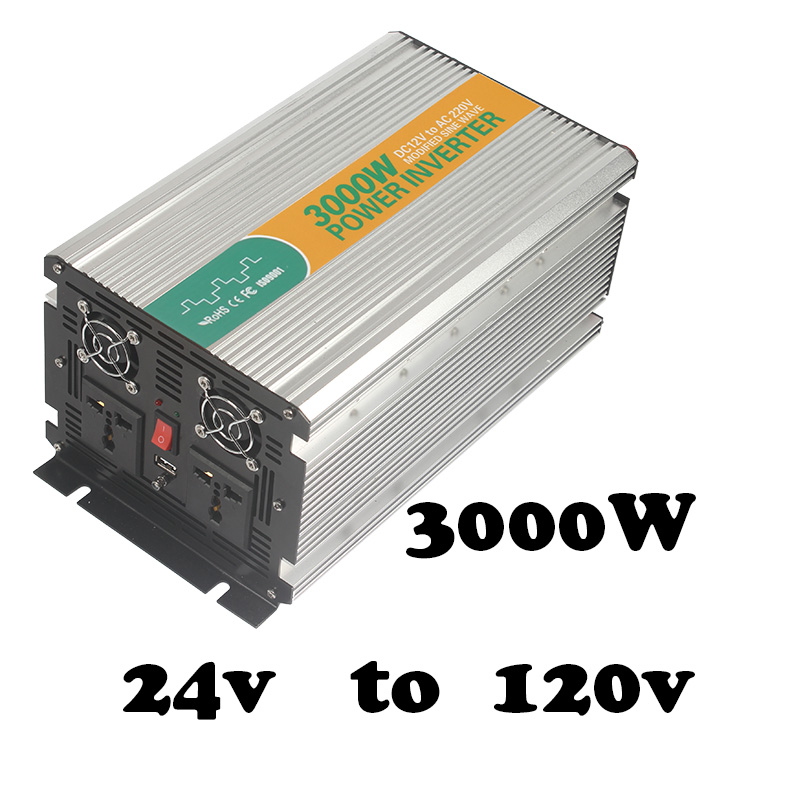цена на 3000W 24vdc to 120vac inverter,power inverter sale power inverter with usb port modified sine wave 3000 w inverter