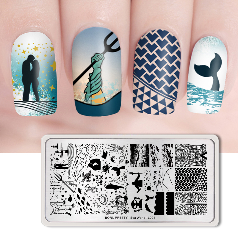 <font><b>BORN</b></font> <font><b>PRETTY</b></font> Nail Art Stamping Plates Stainless Steel Rectangle Nail Stamp Image Template Manicure DIY Designs Sea World-<font><b>L001</b></font> image