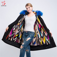 New Fashion Women Luxurious Large Raccoon Fur Collar Hooded Coat Warm Mink Fur Liner Parkas Long Winter Jackets Top Quality
