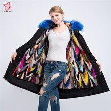 Yeni moda kadınlar lüks büyük rakun kürk yaka kapüşonlu ceket sıcak vizon kürk astar Parkas uzun kışlık ceketler en kaliteli