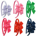 New Design Girls Headbands Bow Ribbon Solid Flower Hairband For Baby Kids Children Girls Hair Bands Accessory Drop Shipping 6Pcs