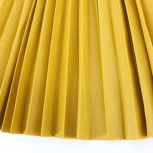 Image 4 - Jesień zima kobiety spódnice plisowana spódnica ze skóry wysokiej talii elastyczne talia linia kolano długość kobiet spódnica Faldas Mujer
