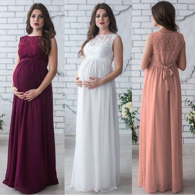 c6b6ef8bbb2 Women Maternity Pregnancy Dress Evening Party Wedding Long Maternity  Clothings Lace Red Wine Gown Pregnant Woman Dresses S~XXL