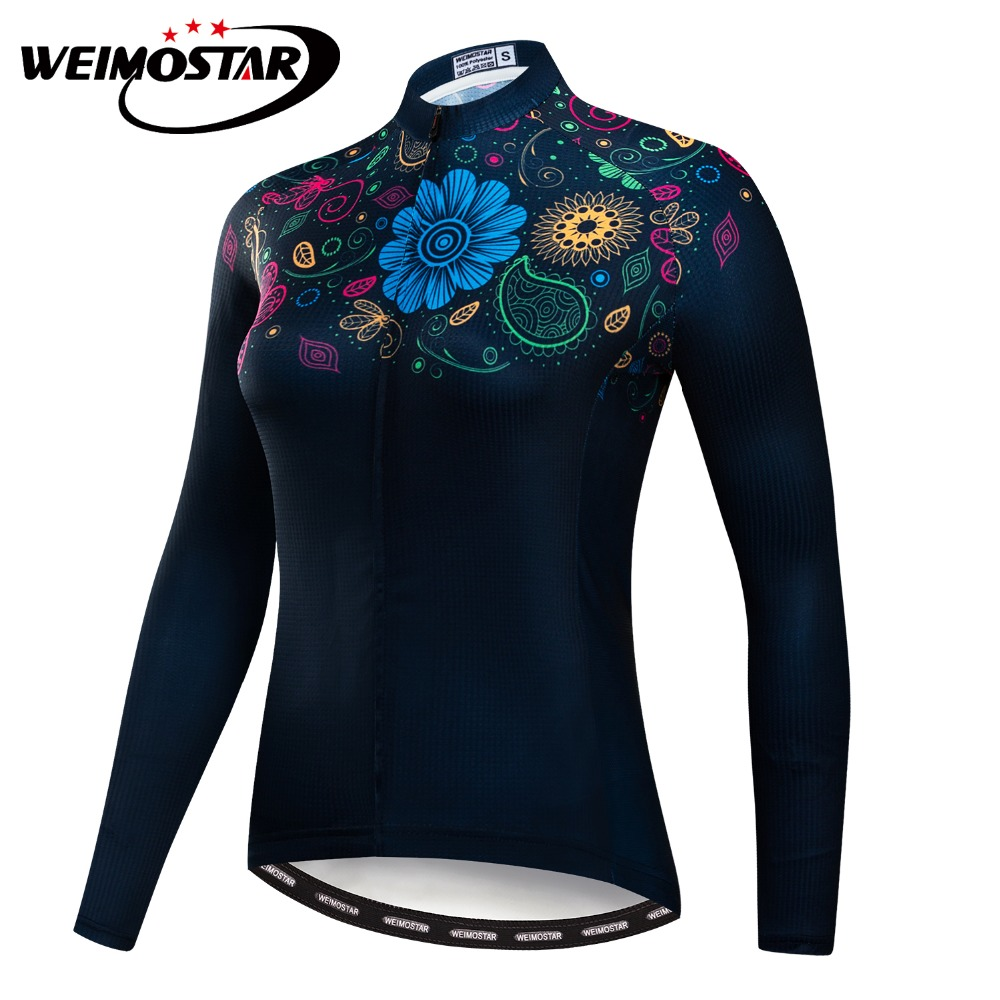 Women Cycling Jersey Long Sleeve Black Flowers Shirt Team Bike Ciclismo Cycling Clothing Autumn Bicycle Mtb Maillot Bike Jersey men ale sportswear long sleeve cycling bike jersey bicycling shirt bicycle cycle clothing mtb ropa ciclismo bicicleta maillot