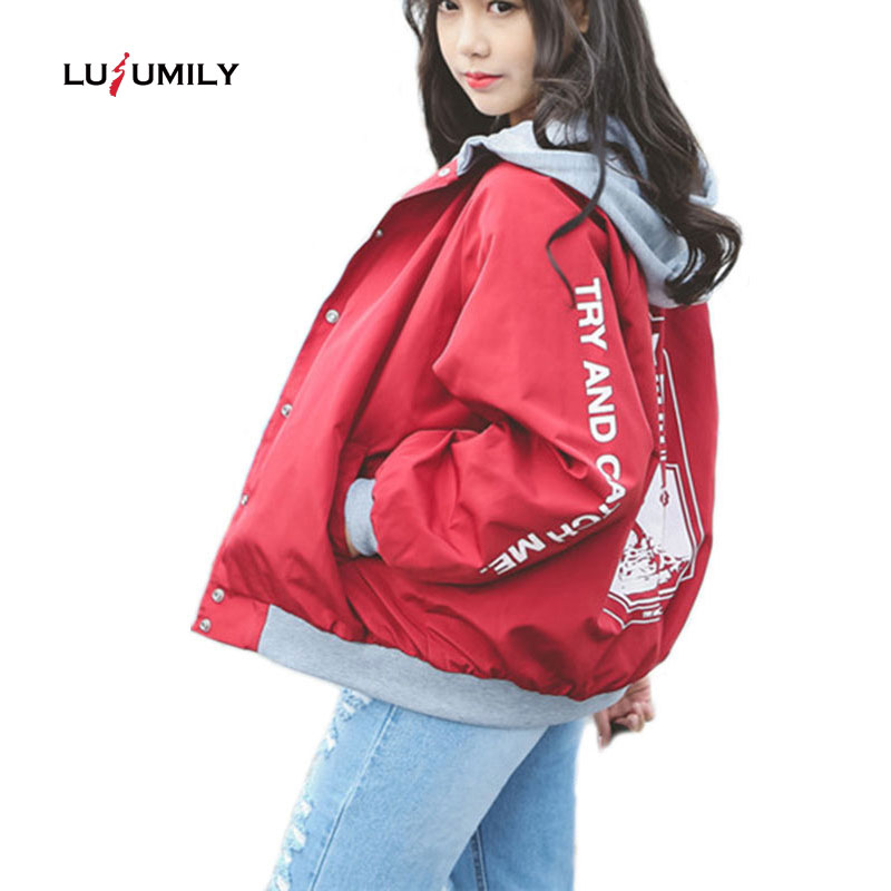 Lusumily Bomber   Jacket   Women Casual Hooded Loosen   Jacket   Student Harajuku Coat Oversize Coats Female   Basic     Jacket   Windbreaker