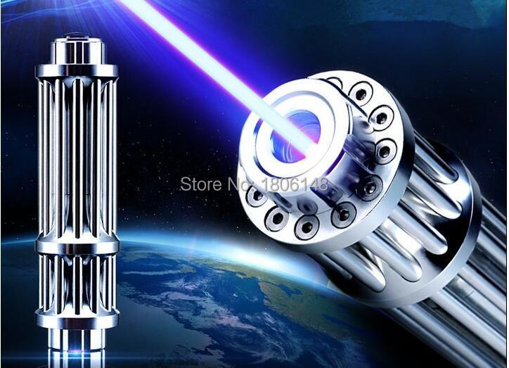 Мощный Военная Униформа Синий лазерная указка 1000000 мВт 100 Вт 450nm фонарик lazer горящая спичка/бумага/черный/сжечь сигареты Охота