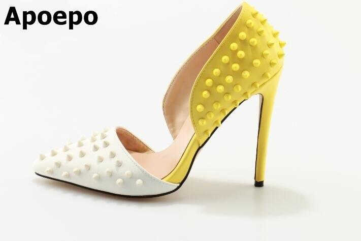 Apoepo new fashion sexy Pumps White and Yellow mixed high heel design slip on shoes rivet design studded stilettos heels rakesh kumar tiwari and rajendra prasad ojha conformation and stability of mixed dna triplex