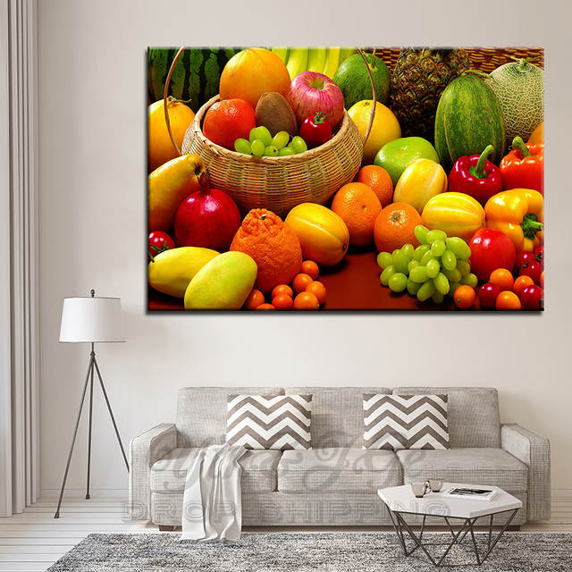 US $8.87 40% OFF|HD Poster And Prints 1 Pieces Canvas Art Green Fruits Food  Picture Poster Decor Kitchen Wall Painting Frameworks Modern Artworks-in ...
