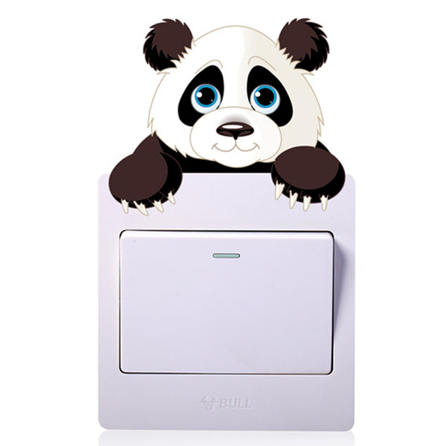 Cute Animals Elephant Cat Panda Giraffe Light Switch Sticker Removable Wall for Kids Baby Nursery Home Decal Mural Decor 4