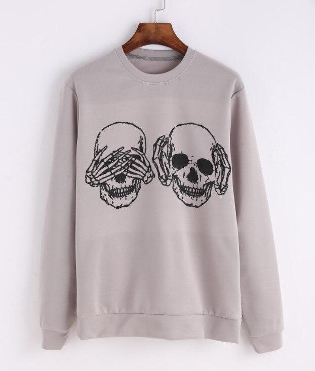 Frauen Fashion O ansatz Lange Sweatshirts Punk Funny Schädel Knochen Druck Plus Größe Pullover - 2