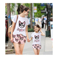 2016 Summer Brand Family Cartoon Cat Lovely Family Clothes Set For Mother And Aaughter Short Sleeve T-Shirt + Pants Clothing Set