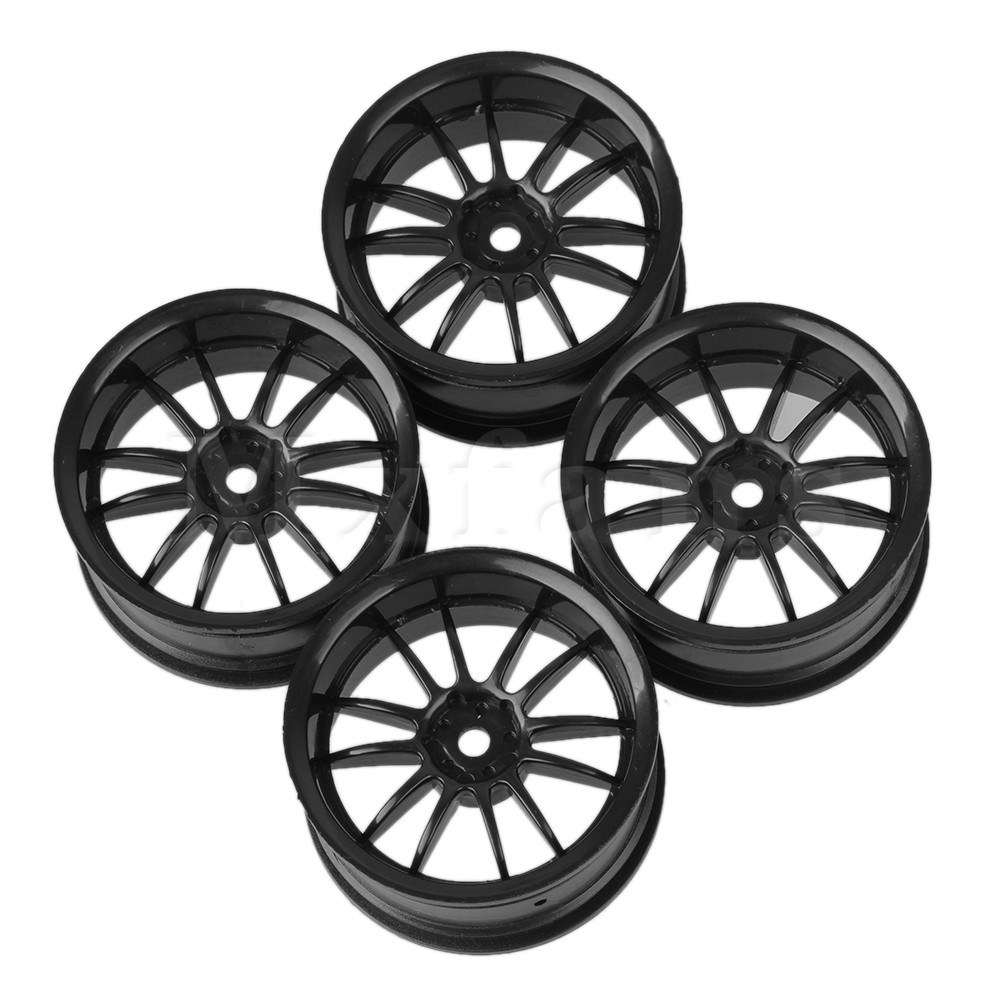 Mxfans 4pcs Black Plastic 12 Spoke Wheel Rim for RC 1:10 On Road Racing Car 52mm Dia 1 10 rubber on road racing car model replacement tire black 4 pcs