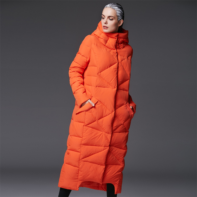 493163d6a US $70.31 6% OFF women's extra long parkas for women winter coat warm  quilted down jackets luxury brands design thickened orange hooded black-in  ...