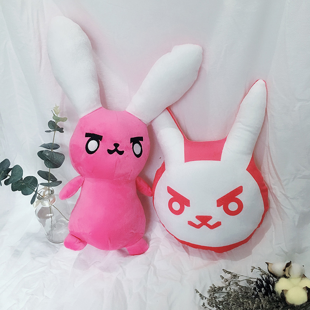 1PC Overwatches Pink Dva Rabbit Plush Pillow Toys OW Game Over Watch Soft DVA Pillow Cosplay Cushions Kids Toys Gifts 1