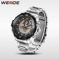Marca de luxo Weide esporte relogio masculino digital de aço inoxidável relógio de quartzo analógico homens relógio de alarme automático resistente à água