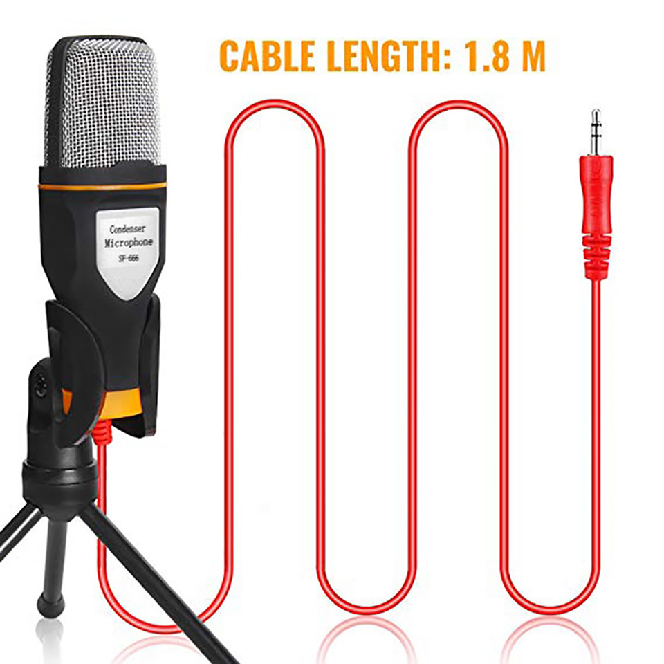 New Condenser Microphone 3.5mm Plug Home Stereo MIC Desktop Tripod for PC YouTube Video Skype Chatting Gaming Podcast Recording 2