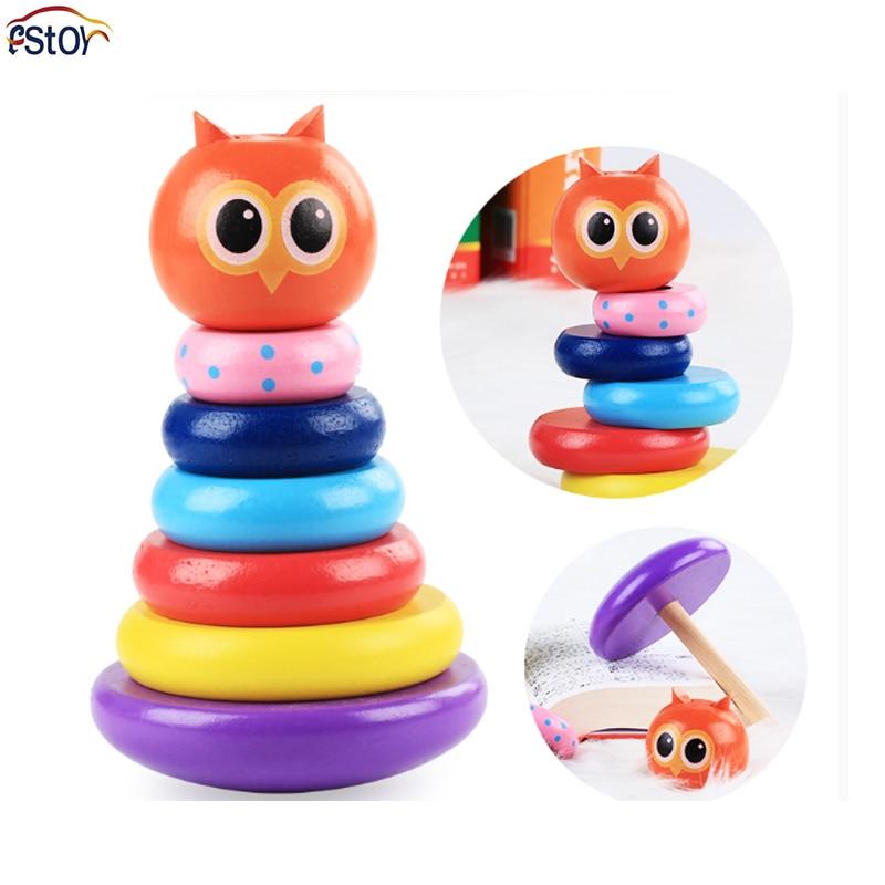 Mits Regenboog Set Toren Baby Baby Houten Blokken Set Kolom Tumbler Educatief Kleurrijke Speelgoed Kinderen Gift Speelgoed