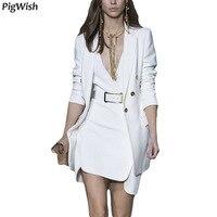 2018 блейзер Feminino одной кнопки зубчатый пояса белый женские офисные куртка высокое качество Для женщин блейзеры костюм осень взлетно посадоч