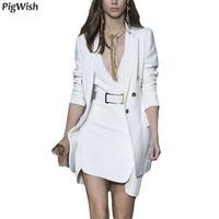 2018 Blazer Feminino Single Button Notched Sashes White Office Ladies Jacket High Quality Women Blazers Suit Autumn Runway Coat