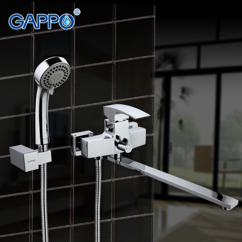 GAPPO Long Spout Bathtub Faucet With Handheld Shower Chrome Plated Bathtub Taps Mixer Shower 180 Degree