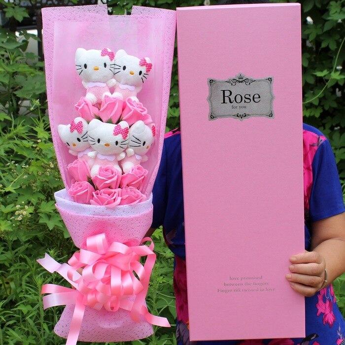 Belle Hellokitty Chats En Peluche Poupée Avec Faux Rose de Bande Dessinée En Peluche Jouets Bouquet De Fleurs Décorations Cadeau du Jour de Valentine Pour Les Filles