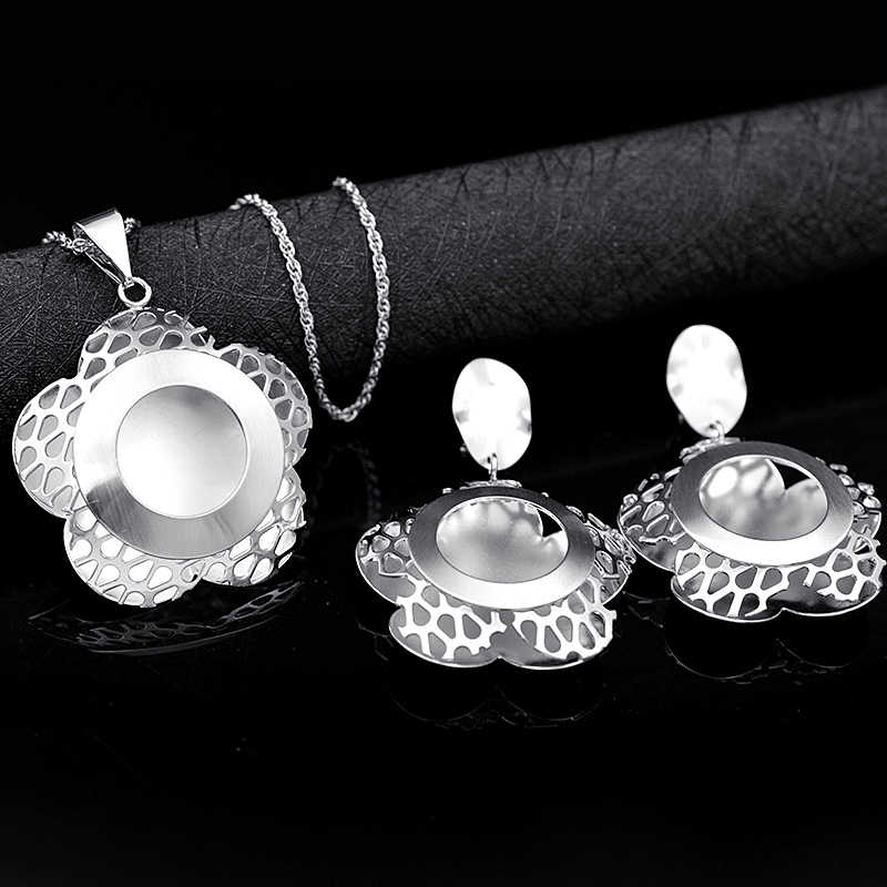 Ensoleillé bijoux romantique ensembles de bijoux pour les femmes collier boucles d'oreilles pendentif ensembles de bijoux pour fête d'anniversaire grand rond fleur bijoux
