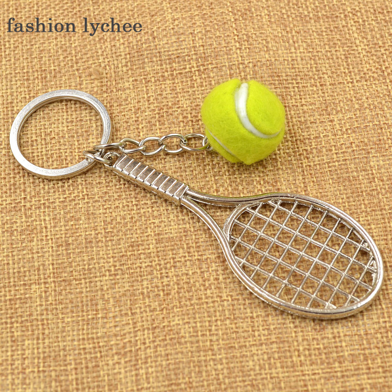 fashion lychee 1 Pc Mini Metal Tennis Ball Racket Causal Sporty Style Keychain Keyring Charms Men Women Gift For Sports Lovers