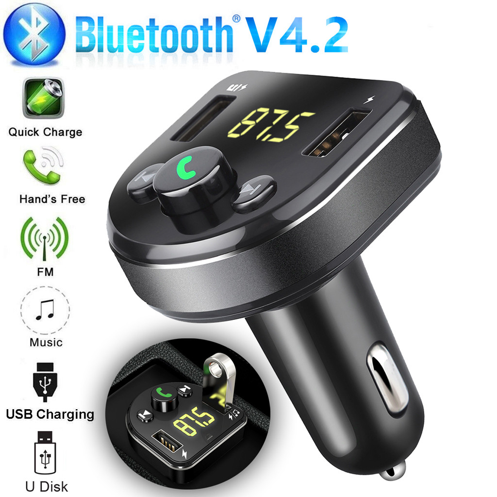 Car Charger for  Mobile Phone Handsfree FM Transmitter Bluetooth Car Kit Bluetooth MP3 Player Dual USB Car Phone Charger  6.21